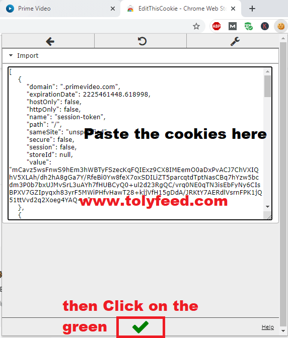 Import editthiscookies